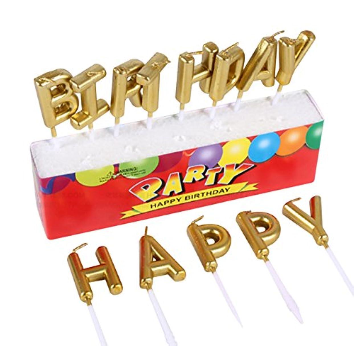 リレー発表するポンペイBirthday キャンドル 金色 お誕生日 ハッピー バースデー