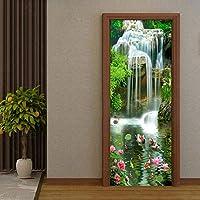 Xbwy 中国風の3D滝蓮の鯉写真壁ドアステッカー壁画壁紙リビングルーム寝室研究Pvc防水壁画-250X175Cm