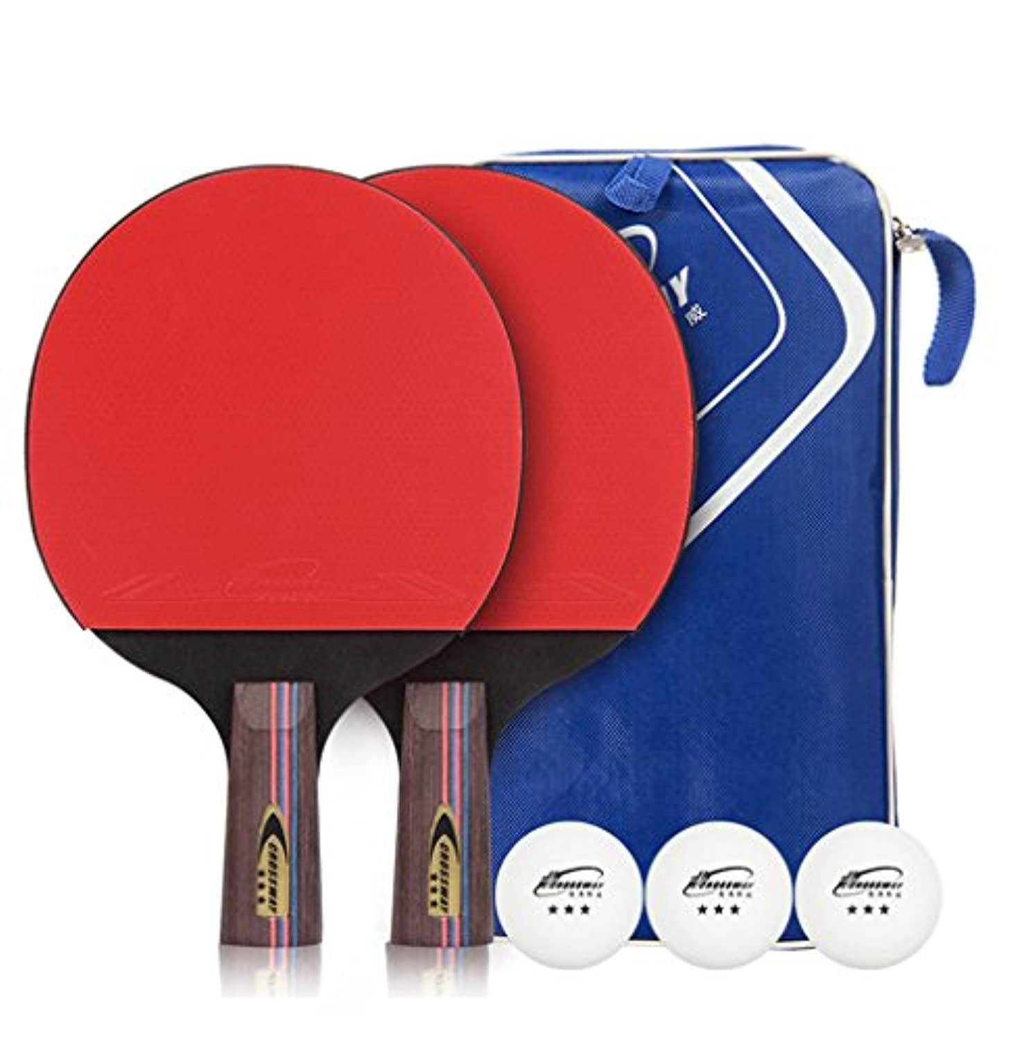 ms. Gaga Table Tennis Paddle Set 2 Table Tennis Rackets with 3 Balls