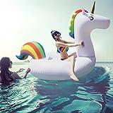 Asamoom ユニコーン浮き輪 強い浮力フロート 子供用 大人用 海 プール 海水浴最適 200x100x90 cm 持ち運びバックパック付き