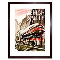 Advert Lehigh Valely Train Rail Fasts Picture Framed Wall Art Print 広告列車レール画像壁