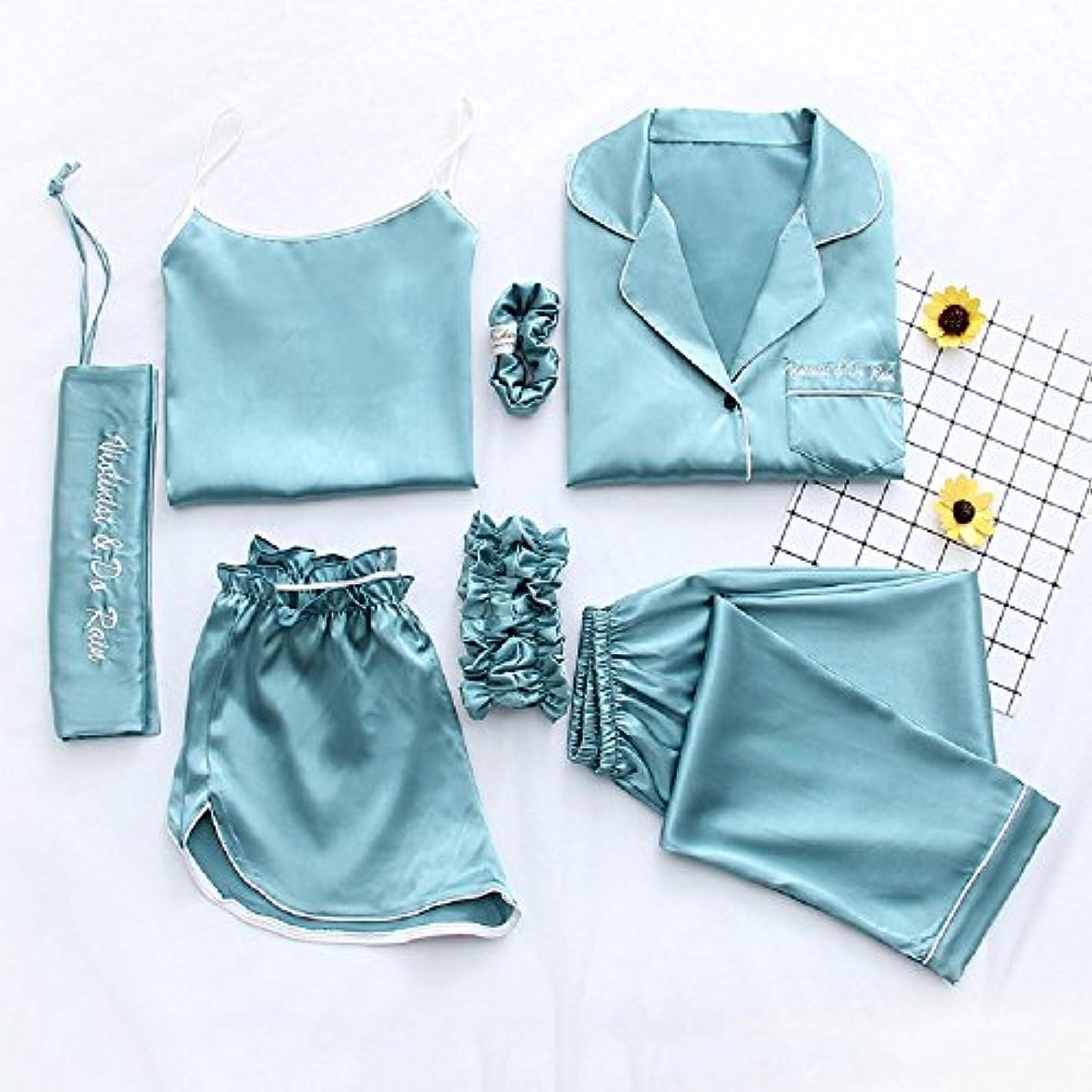 湖絶妙ぎこちないFDY シルク ルームウェア レディース パジャマ スリップ ソフト 女性用 7点セット ヘアバンド シュシュ 収納袋付き