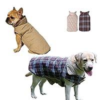 Cuteshower ペット服 リバーシブルベスト ダウンジャケット 防寒 小型犬 中型犬 大型犬 ドッグウェア 犬の服 ブラウン M
