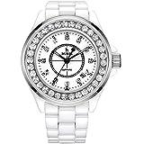 (バオショ)BUREI レディース 腕時計 日付表示機能 アナログ表示 夜光機能 シンプル ファッション ホワイトセラミックバンド ジュエリー腕時計 日本クォーツムーブメント ホワイト文字盤  ピンクゴールドケース