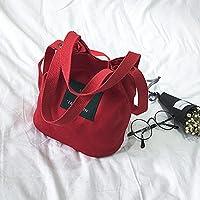 女性のハンドバッグファッションキャンバスカジュアルメッセンジャー学生ホルダーバケット耐摩耗性大容量片方の肩かわいいすべての試合(赤)