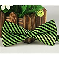 Bullidea 1pc Mens Pure Plain Bowtie Stripes Print Pre-Tied Bow Tie Wedding Party Polyester Green White