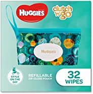 HUGGIES Baby Wipes Refillable Clutch `N' Go, 32 W