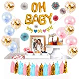 Logui Baby Gender Reveal Party Supplies Set | Gender Reveal Decorations W/ Foil Gold Oh Baby Balloon, Latex Balloons, Paper F