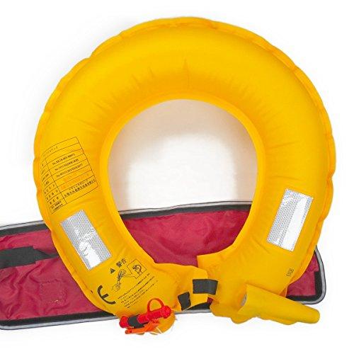 PFD ライフジャケット 救命胴衣 手動膨張式 ベルトタイプ CE認証品 男女兼用 フリーサイズ (黒・ブラック)