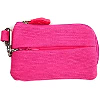 On The Go - Card and Coin Pouch, 2 Zippered Pockets, Slim Fabric Design (Pink)