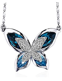 Sivery Mothers Day Gifts Butterfly Wome Jewelry Necklace with Blue Swarovski Crystals, Gifts for Mom