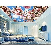 Wuyyii 3D天井壁画壁紙カスタム写真スカイホワイトピーチバタフライ画像装飾絵画3D壁壁画壁紙