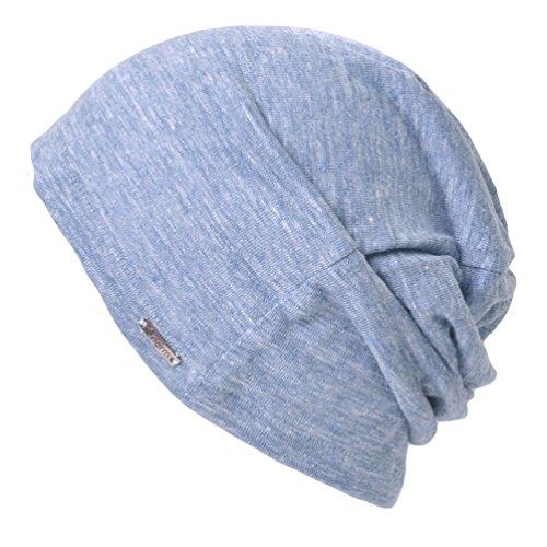 CHARM ニット帽 麻 リネン100% [ フリーサイズ/mixブルー ] 秋冬 ワッチキャップ 大きいサイズ