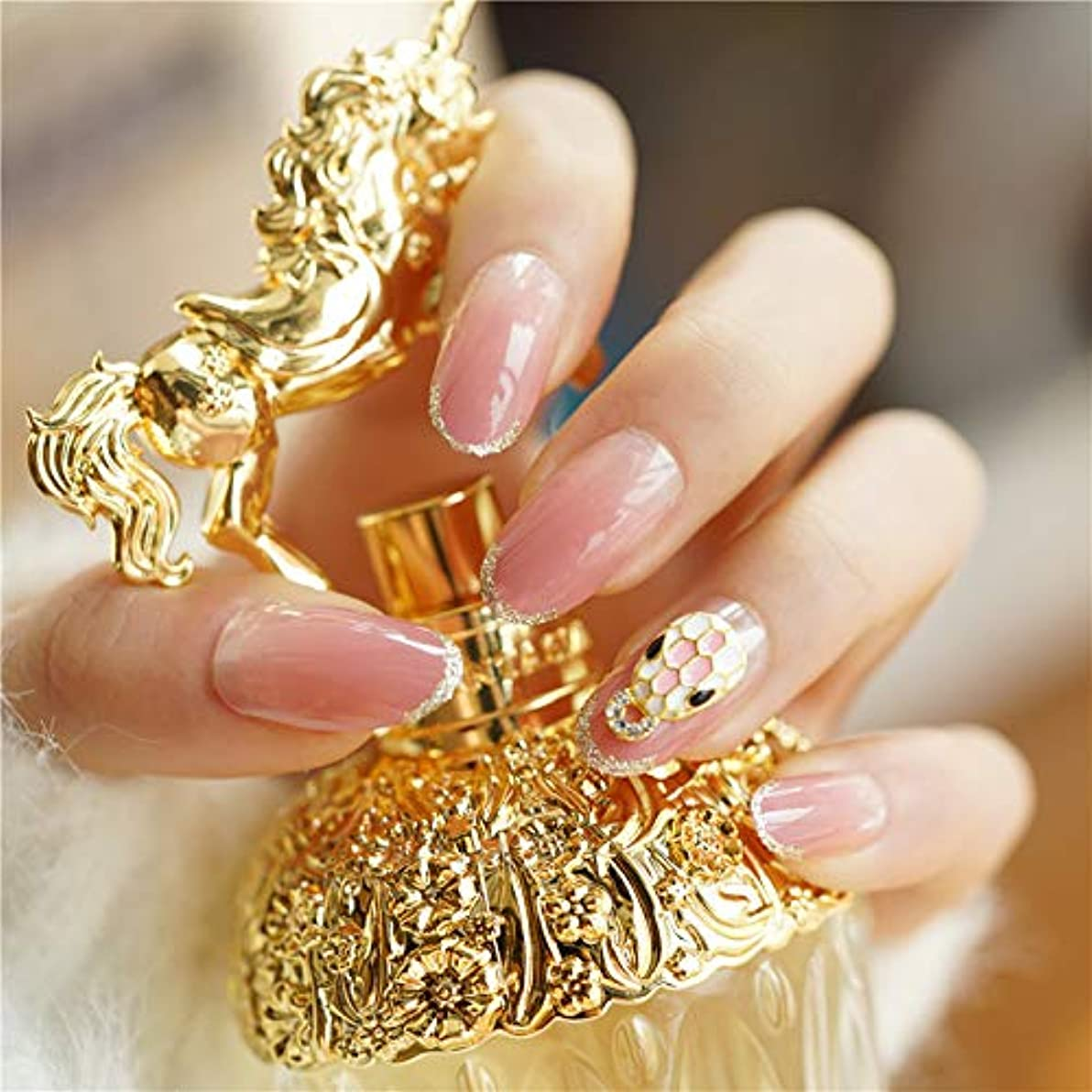 つかの間荒廃する実験をする24枚セット ネイルチップ 付け爪 お嫁さんつけ爪 ネイルシール 3D可愛い飾り 爪先金回し 水しいピンク色変化デザインネイルチップ (ピンク)