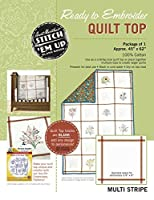 Aunt Martha's Stitch 'Em Up Ready to Embroider Quilt Top, 45 by 62-Inch, Retro Stripe [並行輸入品]