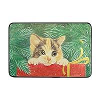 FunnyLifeクリスマス猫エントランス玄関マット期待の休日屋内/屋外の装飾敷物玄関マット24x16インチ滑り止め家の装飾 60x40cm