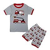 (ディゾン)dizoon [夏シリーズ]キッズ 子供 ベビー 寝間着 服 パジャマスーツ 綿100% 半袖Tシャツ 半ズボン上下セット 赤 消防車 年齢2-7