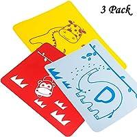 3パックシリコーン防水快適なロールアップ、再利用可能な子供幼児Bibiesプレース(イエロー、レッド、ブルー)