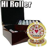 750Ct Hi Roller 14Gram Poker Chipセットin Mahogany木製ケースW /ハイGloss Finish–フリーDealerボタンandカード
