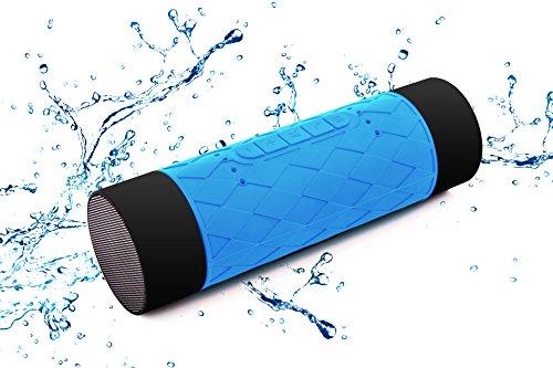 防水Bluetoothスピーカー KIROBO ポータブルワイヤレススピーカーIP65防水認証 5200mAhモバイルバッテリー機能 デュアルドライバー搭載 TFカード ハンズフリー通話機能 iPhone7/7Plus/SE/6s/6sPlus・スマートフォン(スマホ)・iPad対応 お風呂・キッチン・アウトドアで使用可能 blue