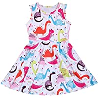 YOUNGER TREE Kids Girl Cartoon Dinosaur/Unicorn Print Tunic Casual Princess Party Dress Sundress