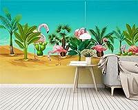 Ansyny 壁画壁紙現代手描き熱帯植物フラミンゴ北欧背景壁壁紙家の装飾-160X120CM