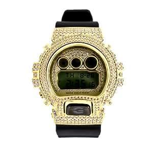 カシオ Gショック腕時計カスタムカバー[CASIO G-SHOCK] DW-6900MR-1 シルバー925/イエローメッキ/キュービックジルコニア カスタムパーツ : ベゼル、ロック、ベルト通し、文字盤