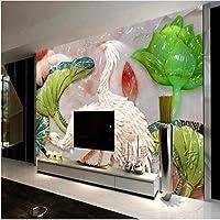 Mingld カスタマイズされた大規模な壁画S彫刻クレーンロータス大理石のフレスコ画テレビの背景の壁不織布壁紙150X120Cm