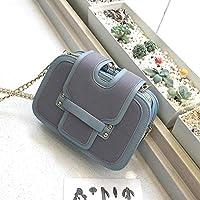 新しい3顎ハンドバッグチェーンバッグショルダーメッセンジャー潮のファッションヒットカラーマット小さな正方形のパッケージ2019韓国語バージョン,青
