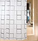 シャワーカーテン 防水防カビ加工 カーテンリング付属 白黒スクエア A021020AA