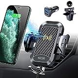 qi ワイヤレス 急速充電 車載ホルダー スマホスタンド ワイヤレス充電器 車内ホルダー 自動開閉 スマートフォン ホルダー車載 360角度回転 iphone8P/iPhone 11/iPhone 11 Pro/iPhone 11 Pro Max/samsung GalaxyS8/nexusなど対応 エアコン吹き出し口クリップ式(ブラック)