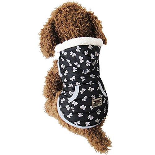 犬服 ペット服 犬の服 可愛いダウンベスト ふわふわの暖かいドッグウェア 小中大型犬の秋冬物 (リボン柄, S)