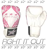 FIGHT IT OUT SPORTS WH/PNK BOXING GLOVE LEAF (8oz)