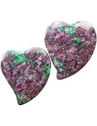 [yuteng] 2つセット ルビー入りフクサイト(Ruby in Fuchsite)ハート形 ファッション 天然石 パワーストーン ペンダント ビーズ ネックレス
