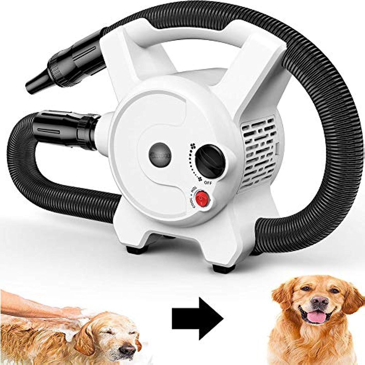 2200Wスピードドッグヘアドライヤー犬猫ペットグルーミングヘアドライヤーヒーターブラスターブロワー1.5Mフレキシブルホースと3ノズル付き調節可能な温度ヒーター
