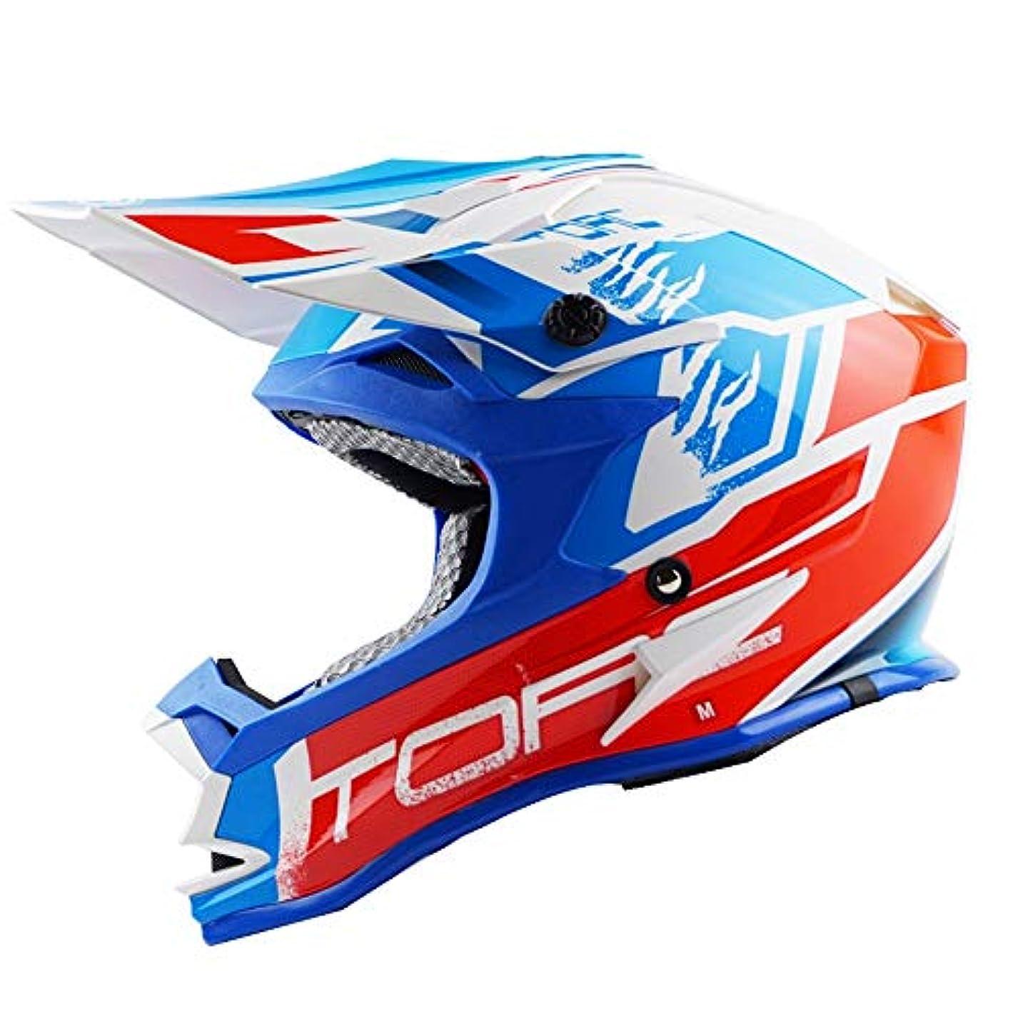 首尾一貫した打撃推論TOMSSL高品質 モトクロスヘルメットロードラリーヘルメットアウトドアレーシングヘルメットマウンテンバイクヘルメット青/赤 TOMSSL高品質