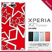 SO02K スマホケース Xperia XZ1 Compact SO-02K カバー エクスペリア XZ1 星 赤×白 nk-so02k-1120