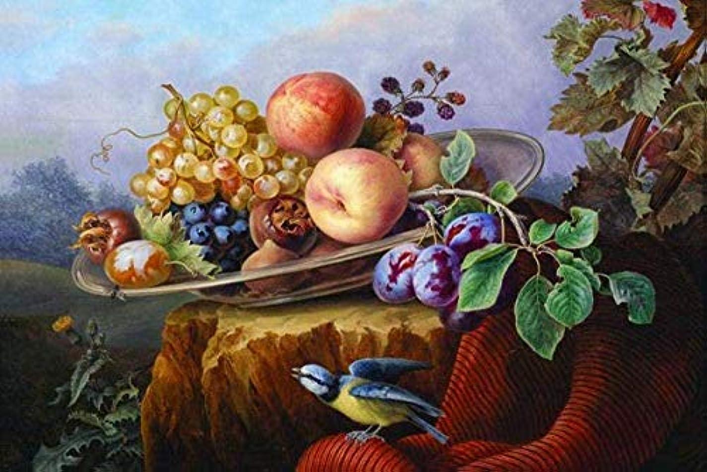 消化留め金老人HNZS壁アート装飾画像古典的な鳥の風景静物フルーツ対称油絵キャンバスプリントフレームなし40X50Cm