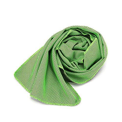 クールタオル ひんやりタオル 5枚セット ネッククーラー アウトドア 子供 熱中症 towel 節電 夏 冷たいタオル 暑さ対策 熱中症対策 冷えるタオル (グリーン(5枚))