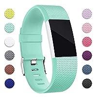 Fitbit Charge 2バンド用、YUMU交換用リストバンドソフトシリコンアクセサリーストラップ(Fitbit Charge 2用)HRトラッカー、バックル、12色、スレートスレート,10green,S