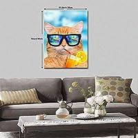 アートパネル アートフレーム 壁アート 壁飾り ウッドフレーム インテリアアート キャンバス絵画 クールな猫サングラスを着用する 壁画 壁掛け インナーフレーム 装飾画 オフィスの装飾 軽くて取り付けやすい おしゃれ ポスター プレゼント