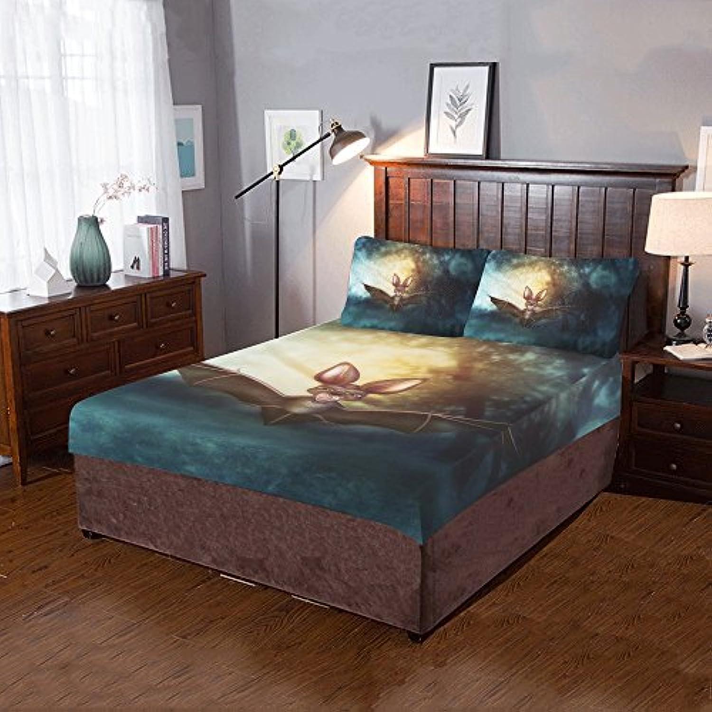 AnnHomeArt Bat 3ピース寝具セットIncludes 1キルトカバーと枕カバー2枚