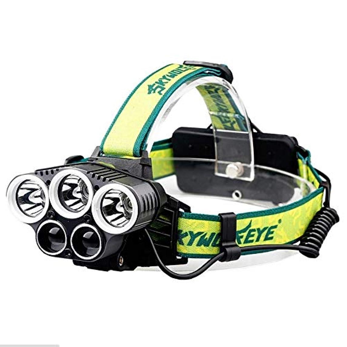 飲料キャンディー保全屋外usb 5ヘッドライト3 * T6 + 2 * XPEランプビーズ18650充電式グレア5LEDキャンプヘッドライト夜釣り狩猟汎用ヘッドライト
