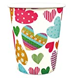 かわいい ペーパーカップ 紙コップ 275ml (9オンス) 36P マルチハート 99061