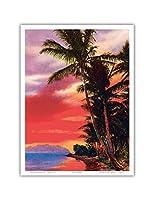 アイルO '夢、ハワイ - ビンテージなハワイアンカラーのハガキ c.1930s - アートポスター - 23cm x 31cm