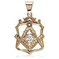 Large Masonicチャームwith aキュービックジルコニア14Kピンク、ローズゴールド