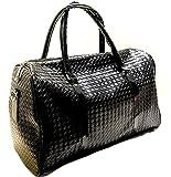 編込みレザー 2way ボストンバッグ 1泊2日 男女 兼用 出張 旅行鞄 キーケース付 (ブラック)