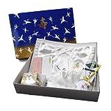 (キョウエツ) KYOETSU 日本製 お宮参り 男の子 白 フードとよだれかけと扇子とお守り袋と化粧箱の5点セット