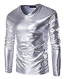 メンズ スリム フィット Vネッ メタリック色 イミテーションのレザー Tシャツ シャイニー ロングスリーブ ブラウス トップス (M, シルバー)