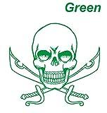 ドクロ&剣 ステッカー スカル ガイコツ 骸骨 頭骨 スケルトン 緑 カッティングステッカー